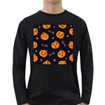 Funny Scary Black Orange Halloween Pumpkins Pattern Long Sleeve Dark T-Shirt Front