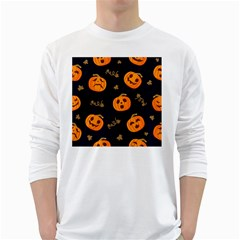 Funny Scary Black Orange Halloween Pumpkins Pattern Long Sleeve T Shirt