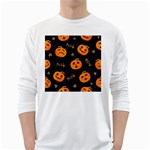 Funny Scary Black Orange Halloween Pumpkins Pattern Long Sleeve T-Shirt Front