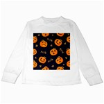 Funny Scary Black Orange Halloween Pumpkins Pattern Kids Long Sleeve T-Shirts Front