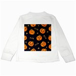 Funny Scary Black Orange Halloween Pumpkins Pattern Kids Long Sleeve T-Shirts Back