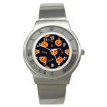 Funny Scary Black Orange Halloween Pumpkins Pattern Stainless Steel Watch Front