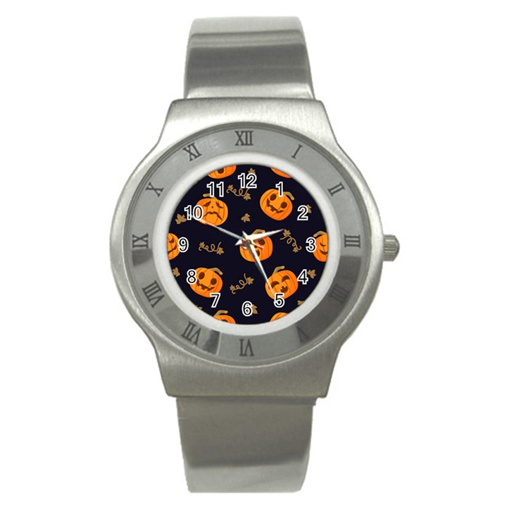 Funny Scary Black Orange Halloween Pumpkins Pattern Stainless Steel Watch