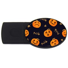 Funny Scary Black Orange Halloween Pumpkins Pattern Usb Flash Drive Oval (4 Gb)