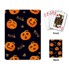 Funny Scary Black Orange Halloween Pumpkins Pattern Playing Cards Single Design