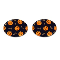 Funny Scary Black Orange Halloween Pumpkins Pattern Cufflinks (oval)