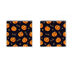 Funny Scary Black Orange Halloween Pumpkins Pattern Cufflinks (square)