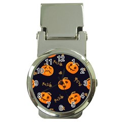 Funny Scary Black Orange Halloween Pumpkins Pattern Money Clip Watches