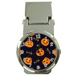 Funny Scary Black Orange Halloween Pumpkins Pattern Money Clip Watches Front