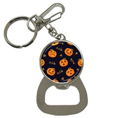 Funny Scary Black Orange Halloween Pumpkins Pattern Bottle Opener Key Chains