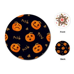 Funny Scary Black Orange Halloween Pumpkins Pattern Playing Cards (round) by HalloweenParty