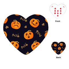 Funny Scary Black Orange Halloween Pumpkins Pattern Playing Cards (heart)
