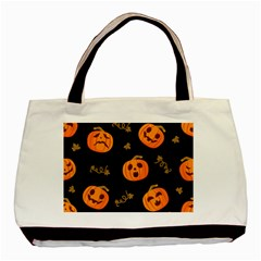 Funny Scary Black Orange Halloween Pumpkins Pattern Basic Tote Bag