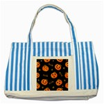 Funny Scary Black Orange Halloween Pumpkins Pattern Striped Blue Tote Bag Front