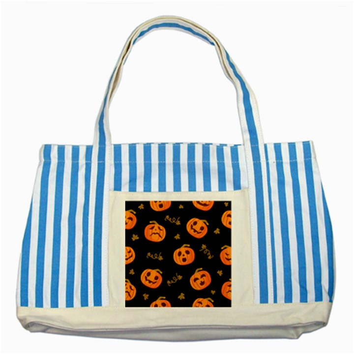 Funny Scary Black Orange Halloween Pumpkins Pattern Striped Blue Tote Bag