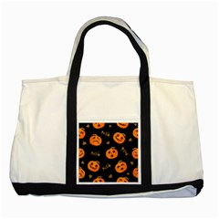 Funny Scary Black Orange Halloween Pumpkins Pattern Two Tone Tote Bag