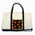 Funny Scary Black Orange Halloween Pumpkins Pattern Two Tone Tote Bag Front
