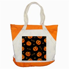 Funny Scary Black Orange Halloween Pumpkins Pattern Accent Tote Bag