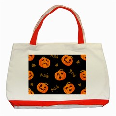 Funny Scary Black Orange Halloween Pumpkins Pattern Classic Tote Bag (red)