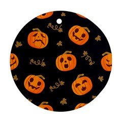 Funny Scary Black Orange Halloween Pumpkins Pattern Round Ornament (two Sides)