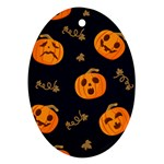 Funny Scary Black Orange Halloween Pumpkins Pattern Oval Ornament (Two Sides) Front