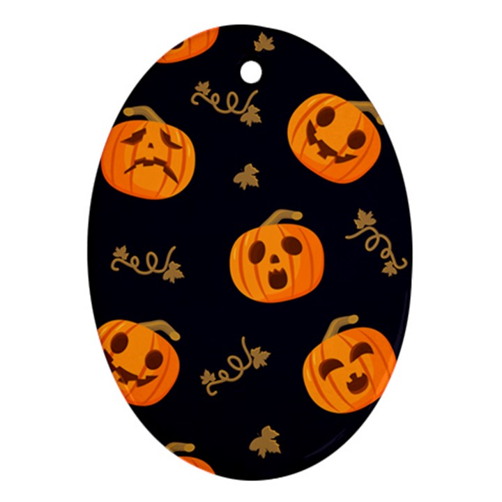 Funny Scary Black Orange Halloween Pumpkins Pattern Oval Ornament (Two Sides)
