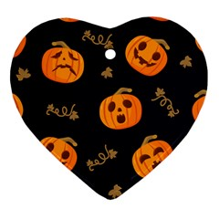 Funny Scary Black Orange Halloween Pumpkins Pattern Heart Ornament (two Sides)