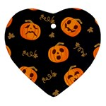 Funny Scary Black Orange Halloween Pumpkins Pattern Heart Ornament (Two Sides) Back