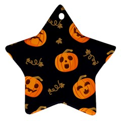 Funny Scary Black Orange Halloween Pumpkins Pattern Star Ornament (two Sides)