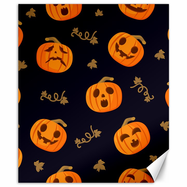 Funny Scary Black Orange Halloween Pumpkins Pattern Canvas 8  x 10
