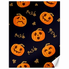 Funny Scary Black Orange Halloween Pumpkins Pattern Canvas 12  X 16
