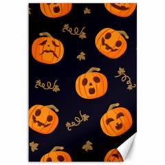 Funny Scary Black Orange Halloween Pumpkins Pattern Canvas 12  X 18