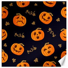 Funny Scary Black Orange Halloween Pumpkins Pattern Canvas 16  X 16