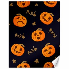 Funny Scary Black Orange Halloween Pumpkins Pattern Canvas 18  X 24