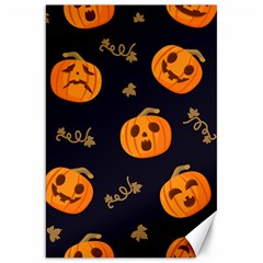 Funny Scary Black Orange Halloween Pumpkins Pattern Canvas 20  X 30