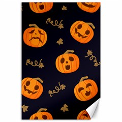 Funny Scary Black Orange Halloween Pumpkins Pattern Canvas 24  X 36  by HalloweenParty