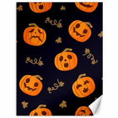 Funny Scary Black Orange Halloween Pumpkins Pattern Canvas 36  X 48