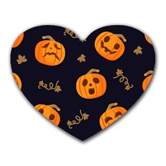 Funny Scary Black Orange Halloween Pumpkins Pattern Heart Mousepads