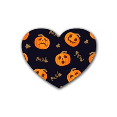 Funny Scary Black Orange Halloween Pumpkins Pattern Rubber Coaster (heart)