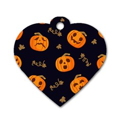 Funny Scary Black Orange Halloween Pumpkins Pattern Dog Tag Heart (two Sides)