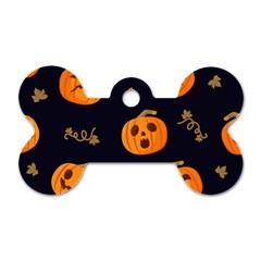 Funny Scary Black Orange Halloween Pumpkins Pattern Dog Tag Bone (two Sides)