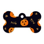Funny Scary Black Orange Halloween Pumpkins Pattern Dog Tag Bone (Two Sides) Front