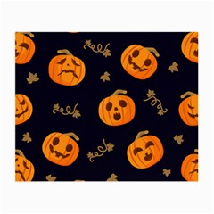 Funny Scary Black Orange Halloween Pumpkins Pattern Small Glasses Cloth (2 Side)