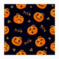 Funny Scary Black Orange Halloween Pumpkins Pattern Medium Glasses Cloth (2 Side)