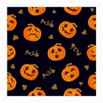 Funny Scary Black Orange Halloween Pumpkins Pattern Medium Glasses Cloth (2-Side) Front