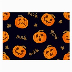 Funny Scary Black Orange Halloween Pumpkins Pattern Large Glasses Cloth