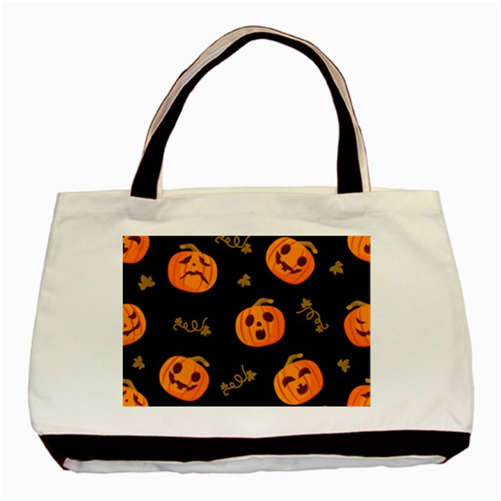 Funny Scary Black Orange Halloween Pumpkins Pattern Basic Tote Bag (Two Sides)