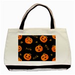 Funny Scary Black Orange Halloween Pumpkins Pattern Basic Tote Bag (Two Sides) Back