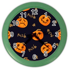 Funny Scary Black Orange Halloween Pumpkins Pattern Color Wall Clock