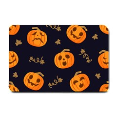 Funny Scary Black Orange Halloween Pumpkins Pattern Small Doormat